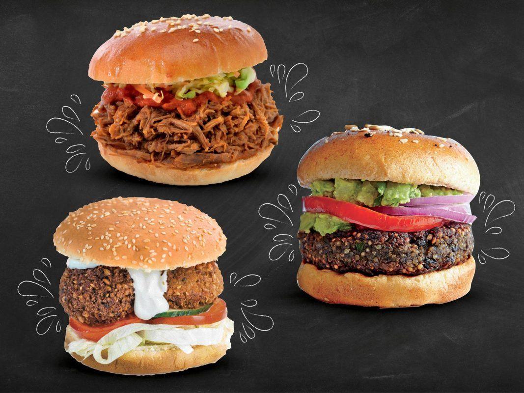 Pulled pork, falafel i veggie burger -15%